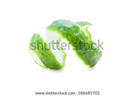Kaffir Limes twist on white background. - stock photo