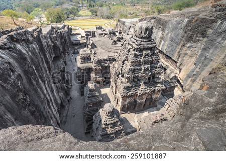 Kailas Temple in Ellora, Maharashtra state in India - stock photo