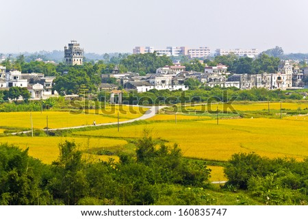 Kaiping Diaolou with rice farmland landscape in China - stock photo