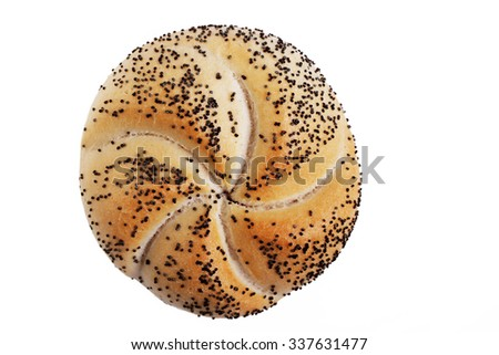Kaiser roll Bread isolated on white background - stock photo