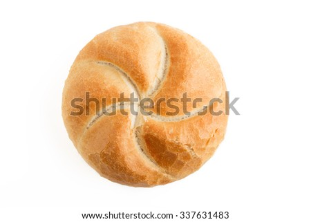 Kaiser roll fresh baked bead isolated on white background - stock photo