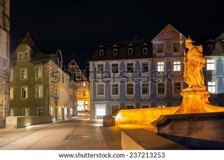 Kaiserin Kunigunde statue at night in Bamberg, Germany  - stock photo