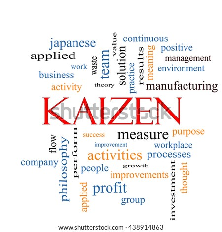 Kaizen Word Cloud Concept with great terms such as improvement, positive, success and more. - stock photo