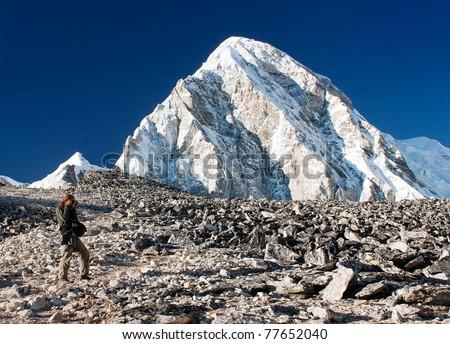 Kala Patthar view point of Mount Everest - Nepal - stock photo