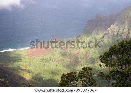 Kalalau Lookout, Kauai, Hawaii-2 - stock photo