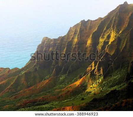 Kalalou Valley on the Na Pali Coast , Kauai, Hawaii - stock photo