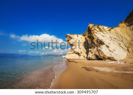Kalamaki beach (protected Caretta Caretta turtle nesting site) on Zakynthos island, Greece - stock photo