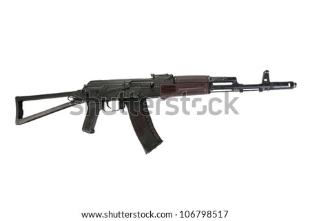 kalashnikov assault rifle aks74 isolated on a white background - stock photo