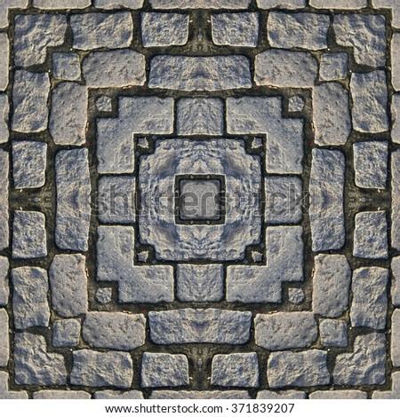 Kaleidoscope abstract background. Seamless pattern. Stone pavement or cobblestones. - stock photo
