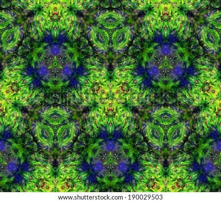 Kaleidoscope: aquatic plants and birch leaves - stock photo