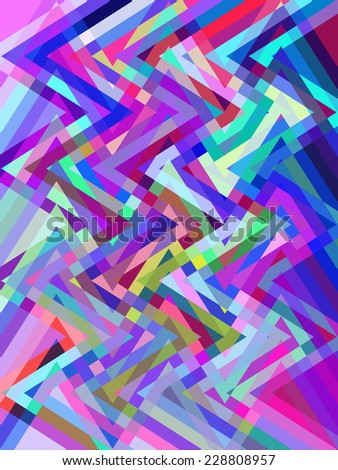 Kaleidoscopic multicolored abstract of zigzags crisscrossing for psychedelic effect - stock photo