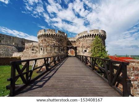 Kalemegdan fortress in Belgrade Serbia, Zindan gate and old wooden bridge,  - stock photo