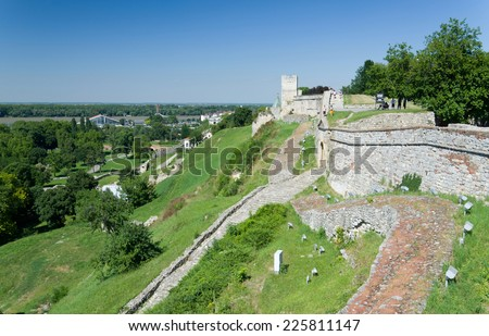 Kalemegdan Park has the most important historical monument in Belgrade. There is the Belgrade fortress erected on the hill above rivers. - stock photo