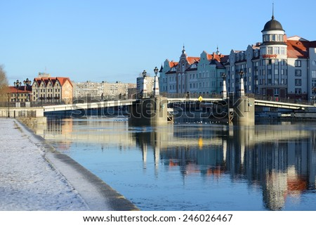 KALININGRAD, RUSSIA - JANUARY 6, 2015: Ethnographic and trade center, embankment of the Fishing Village  - stock photo