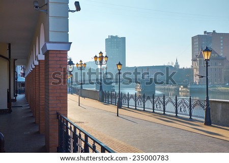 KALININGRAD, RUSSIA - NOVEMBER 29, 2014: Ethnographic and trade center, embankment of the Fishing Village. - stock photo