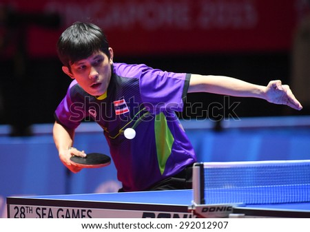 KALLANG,SINGAPORE-JUNE1:Nikom.W of Thailand in action during the 28th SEA Games Singapore 2015 between Thailand and Indonesia at Singapore Indoor Stadium on June1 2015 in SINGAPORE.  - stock photo