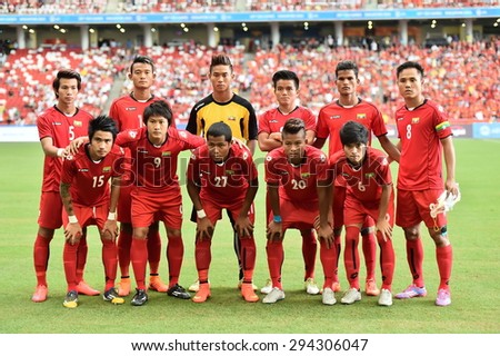 Kallang,Singapore - JUNE 13:Players of Myanmar U23 shot photo during the 28th SEA Games Singapore 2015 match between Myanmar and Vietnam at Singapore National Stadium on JUNE13 2015 - stock photo