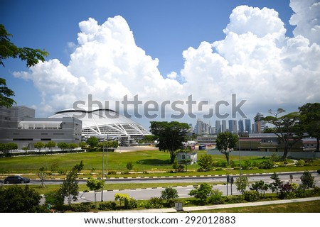 KALLANG,SINGAPORE-MAY30:Some view around the SINGAPORE Sport Hub in competition the 28th SEA Games Singapore 2015 on May30 2015 at Singapore. - stock photo