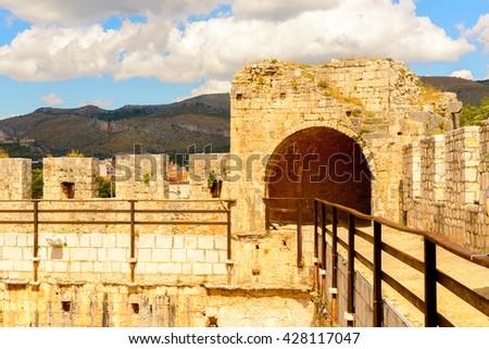 Kamerlengo (Gradina Kamerlengo), a castle and fortress in Trogir, Croatia. It was built by the Republic of Venice - stock photo