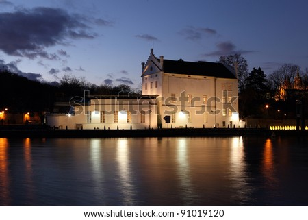 Kampa museum in Prague, Czech republic with river Vltava - stock photo