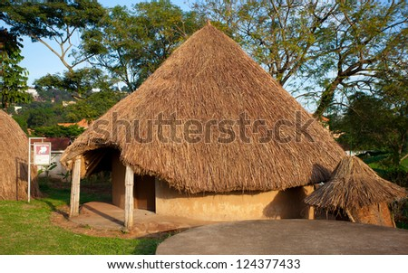 KAMPALA, UGANDA - OCT 19: Traditional African tribal hut on October 19, 2012 in the Uganda Museum, Kampala, Uganda. The Uganda Museum exhibits great  collections of Uganda's cultural heritage. - stock photo