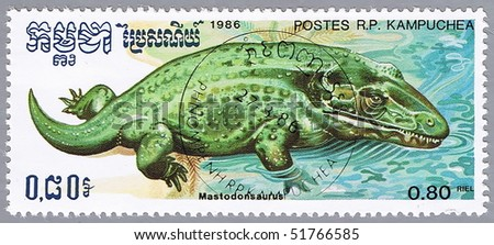 KAMPUCHEA - CIRCA 1986: A stamp printed in Kampuchea shows Mastodonsaurus, series devoted to prehistoric animals, circa 1986 - stock photo