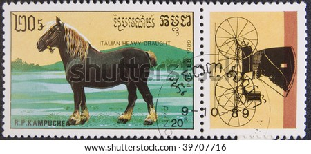 Kampuchea - Phnom Penh, circa 1989: Postal stamp Kampuchea circa 1989. Vintage stamp depicting an breed of horse italian hevy draught - stock photo