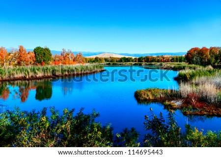 Kanasi Lake in autumn,Xinjiang,China - stock photo