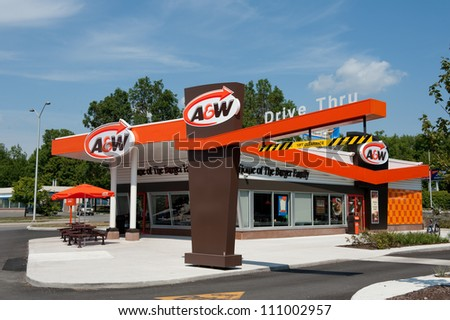 KANATA, CANADA  JUN 14: A new A&W restaurant, in retro design, opens June 14, 2012 on Terry Fox Drive in Kanata, a suburb of Ottawa, Ontario, Canada. There are over 1200 A&W restaurants worldwide. - stock photo