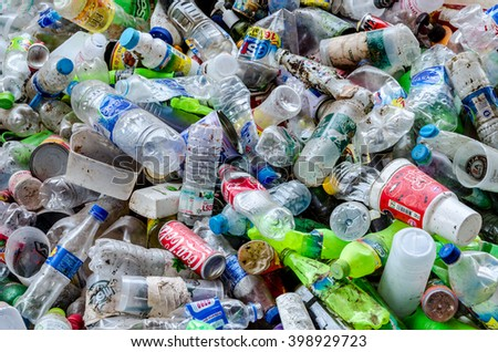 KANCHANABURI PROVINCE, THAILAND-MARCH 17: Plastic bottles waste from household.  Recycle center at Kanchanaburi Province on MARCH 17 , 2016 in KANCHANABURI  PROVINCE THAILAND - stock photo