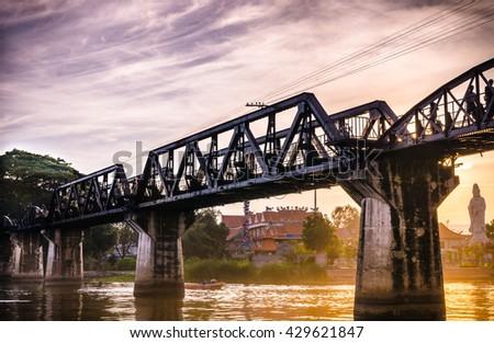 KANCHANABURI THAILAND,Bridge on river Kwai,It is the historic of world war ii, the death railway bridge over river - stock photo