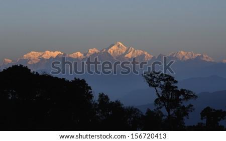 Kanchenjunga mountain range in the morning, Sikkim - stock photo