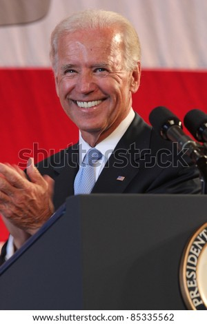 KANEOHE BAY, HI - 25 AUGUST - Vice President Joe Biden delivers a speech in front of Sailors and Marines at Marine Corps Base Hawaii following a trip through Asia. Kaneohe Bay, HI on 25 August 2011 - stock photo