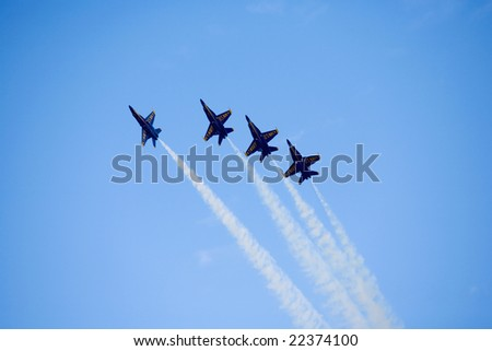 "KANEOHE, HI - October 14: The Blue Angels, the precision flight team of the U.S. Navy performs at the ""Blues on the Bay"" air show at Marine Corps Base Hawaii  in Kaneohe on October 14, 2007 - stock photo"