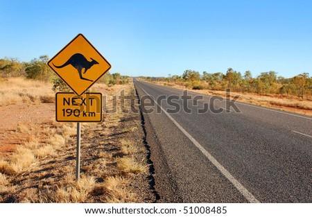 Kangaroo warning sign in central Australia - stock photo