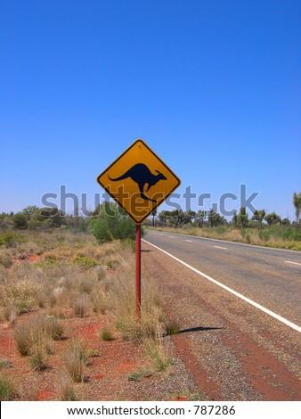Kangaroos ahead - stock photo