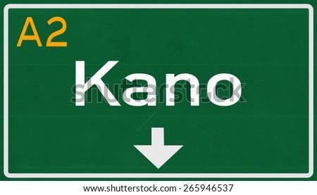 Kano Nigeria Highway Road Sign - stock photo