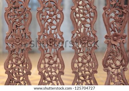 Kanok background as wooden fence - stock photo