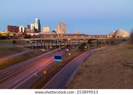 Kansas City at twilight with no copyright or trademark symbols - stock photo