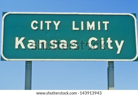 Kansas City city limit sign, MO - stock photo