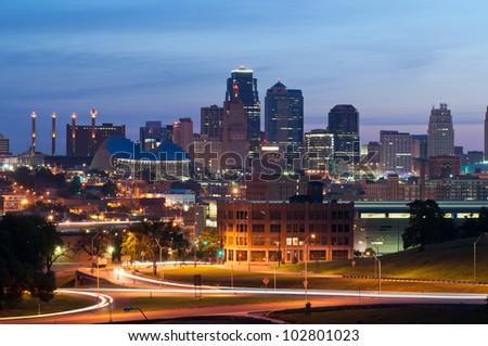 Kansas City. Image of the Kansas City skyline at sunrise. - stock photo