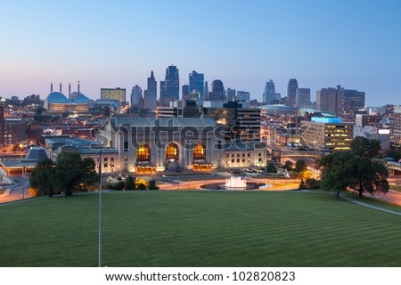 Kansas City. Image of the Kansas City skyline at twilight. - stock photo