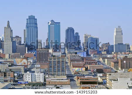 Kansas City skyline from Crown Center, MO - stock photo