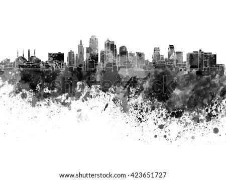 Kansas City skyline in black watercolor - stock photo