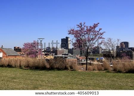 Kansas City skyline in the spring - stock photo