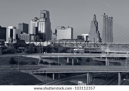 Kansas City. Toned image of the Kansas City skyline. - stock photo