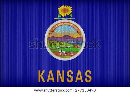Kansas flag pattern on the fabric curtain, vintage style - stock photo