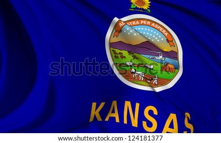 Kansas flag - USA state flags collection no_3 - stock photo