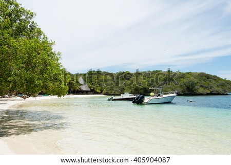 Kanumera beach on the Isle of Pines in New Caledonia - stock photo