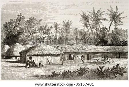 Kaouele village old view, Tanzania. Created by Lavieille after Burton, published on Le Tour du Monde, Paris, 1860. - stock photo